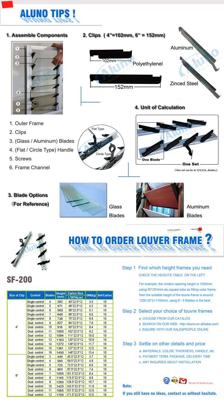 6 Inch Glass Blades Holder Frame For Louver Windows