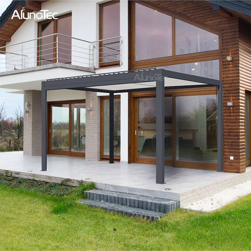 Patio Outdoor Design Garden Waterproof Motorized Opening Aluminium Pergola
