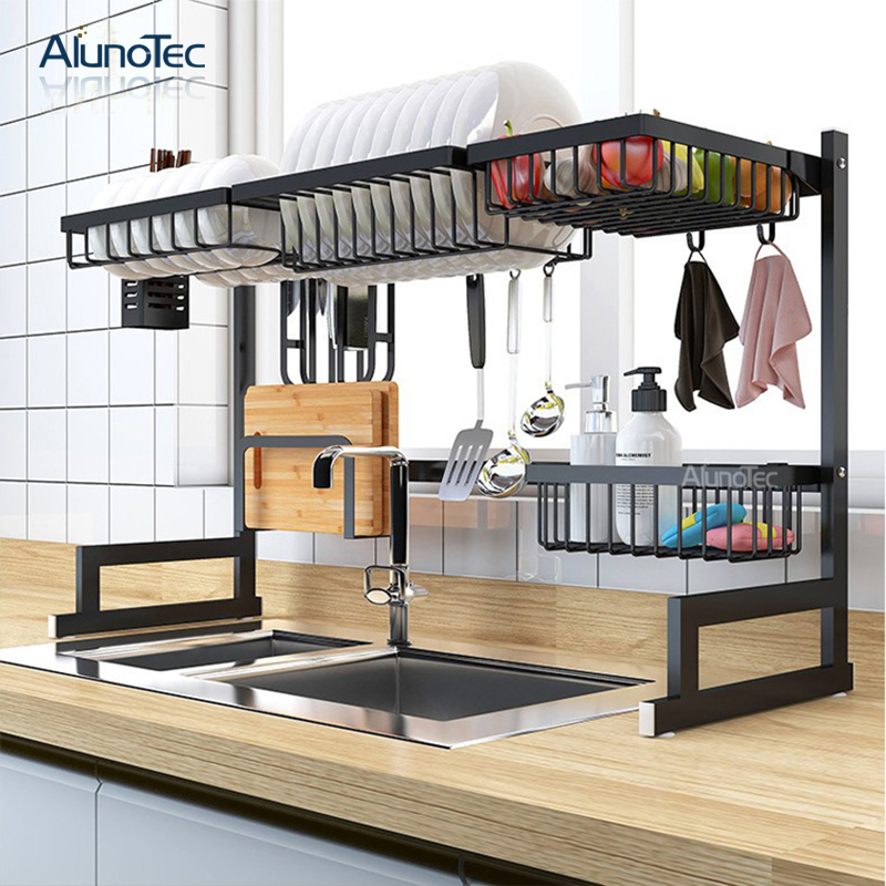 95cm Large Kitchen Storage Drying Drainer Over The Sink Black Dish Rack Stainless Steel Kitchen