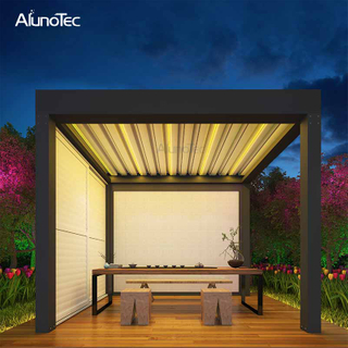 Modern Design Outdoor Fence Panels Waterproof Aluminum Pergola Motorized Canopy With Screens