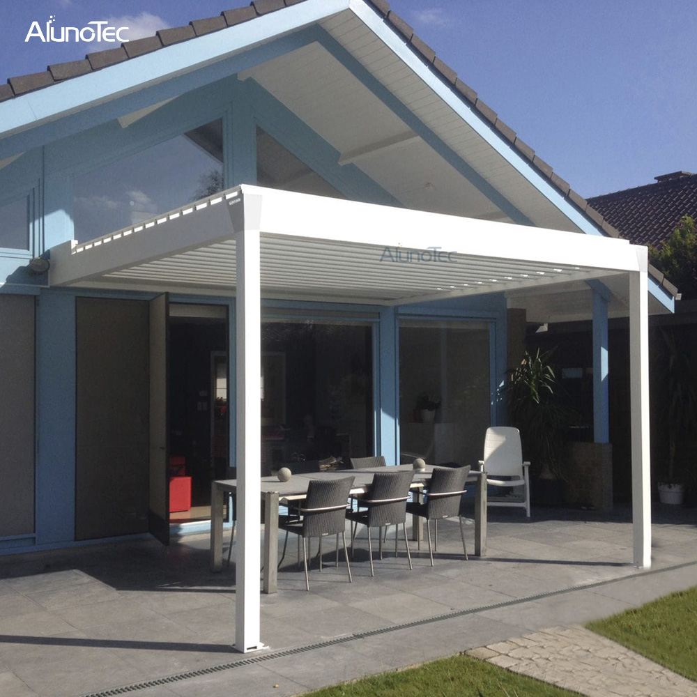 Motorized Garden Awning Aluminum Sun Louver Pergola With Remote Control