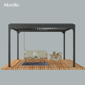Factory Direct Garden Pergola Price Manual Operable Aluminum Louvre Roof Gazebo Outdoor