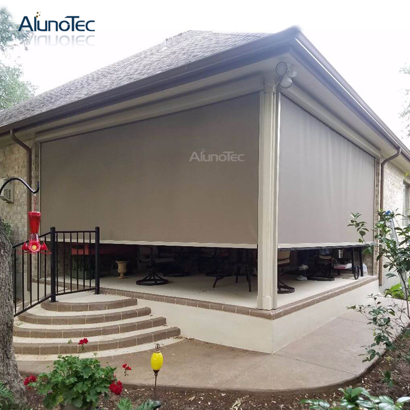 Exterior Roof Sunshade Pergola Electric Balcony Side Curtain with Motor