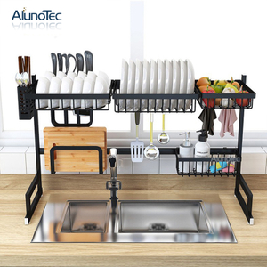 95cm Black Stainless Steel Kitchen Storage Stand Organizer Sink Drying Dish Rack