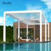 Waterproof Sunshade Louvered Motorised Aluminum Villa Pergolas With Curtain