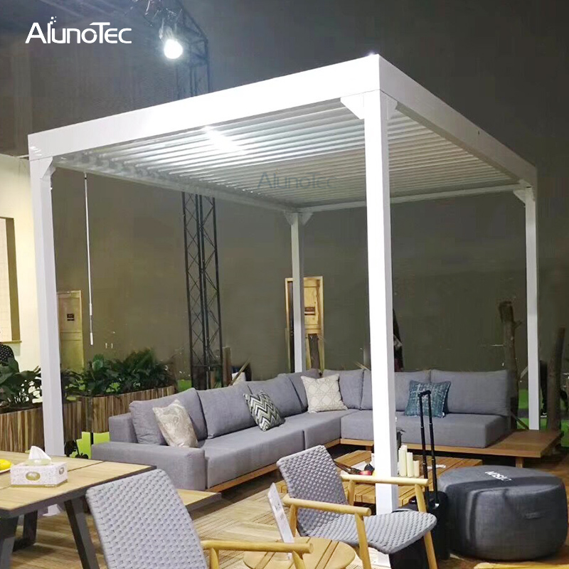 Manual Rainproof Louvre Roof Outdoor Bioclimatic Modern Pergola Design For Wholesaler