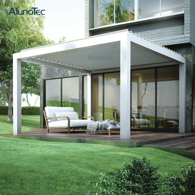 Electric Awning Metal Pergola Bioclimatic With Louvered Roof