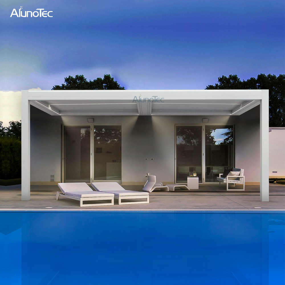 Remote Controlled Opening And Closing Roof Pergola System For Swimming Pool