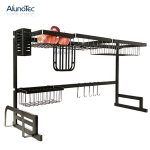 Free Standing 85cm Black Dish Drying Rack Stainless Steel Dish Storage Drainer Rack