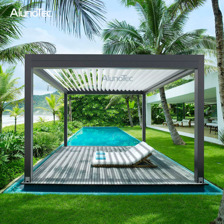 Motor Operated Shutter Louver Roof Metal Pergola For Sunshade