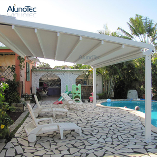 Folding Awning Retractable Roof Systems With Operable Louvers