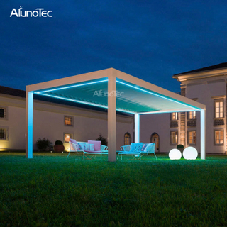 Automatic Opening Closing Awning Metal Outdoor Gazebo With Led Lights