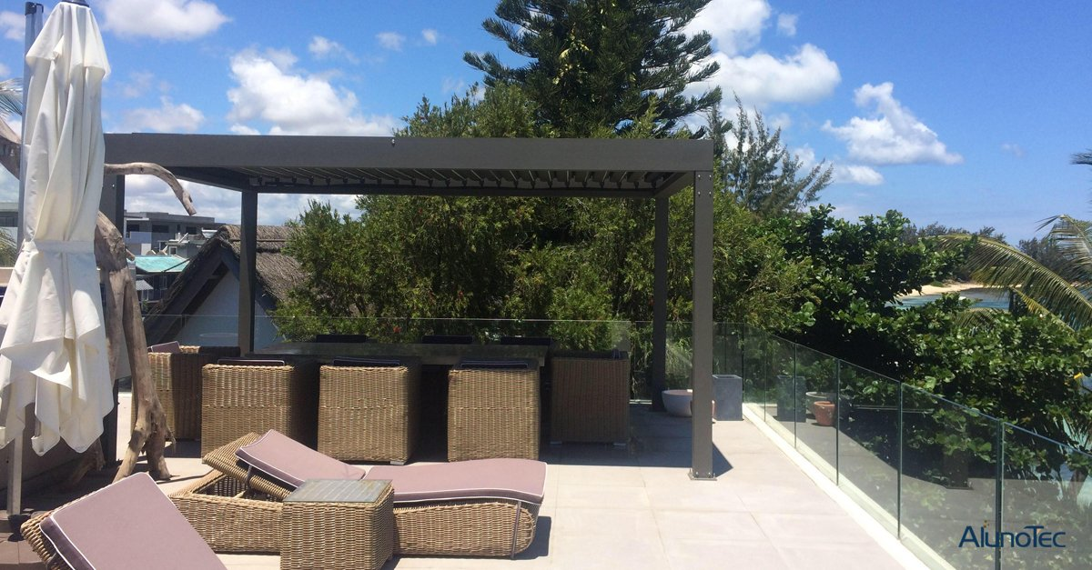 AlunoTec Pergola System Project Case- Pictures are provided by Mr. Didier from Mauritius, thanks a lot!