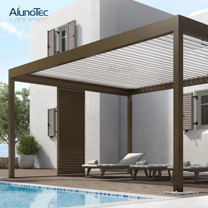 Remote Controlled Awning Adjustable Louver Pergola 3x3 For Outdoor