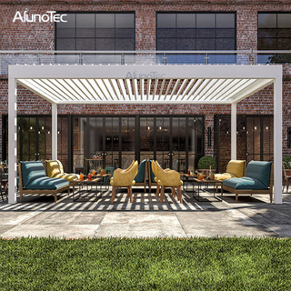 Waterproof Retractable Pergola Automatic System With Louvered Roof