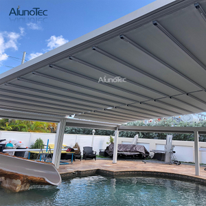 Outdoor Metal Retractable Awning Shade Aluminum Bioclimatic Retractable Roof Pergola Roof Pergola