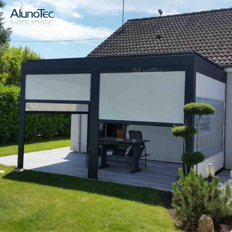 China Remote Control Garden Aluminum Louver Roof Pergola Easily Assemble Gazebo With Glass Door