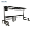 85cm Black Stainless Steel Kitchen Stand Utensil Holder Dish Drying Rack Over Sink
