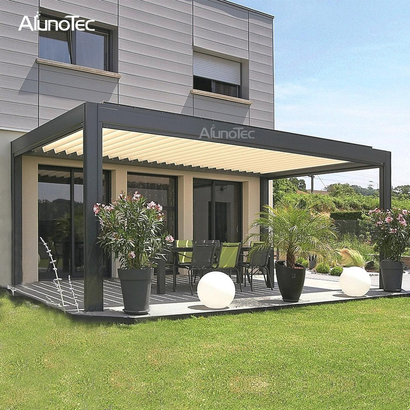 Bioclimatic Aluminum Frame Awning Motorized Gazebo With Curtain