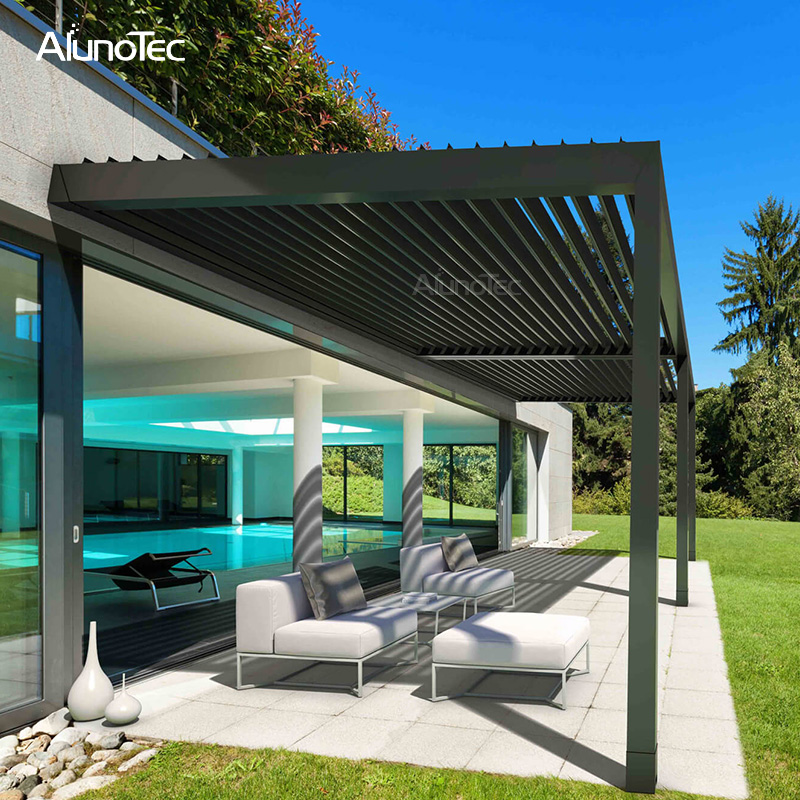 Outdoor Electric Folding Gazebo Aluminium Pergola With Curtain