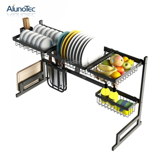 Black Easily Assembly 95cm Space Organizer Holder Drying Drainer Shelf Kitchen Dish Rack