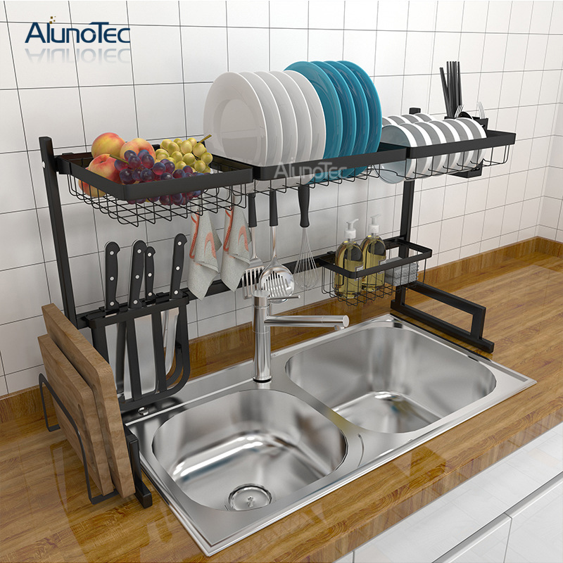 Standing Large Black 95cm Drying Dish Rack Drainer Stainless Steel Kitchen Storage Rack