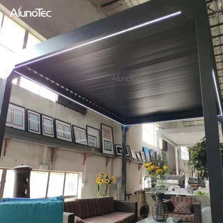Garden Gazebo Rainproof Manual Louver Roof Pergola Aluminium For Outdoor Restaurant