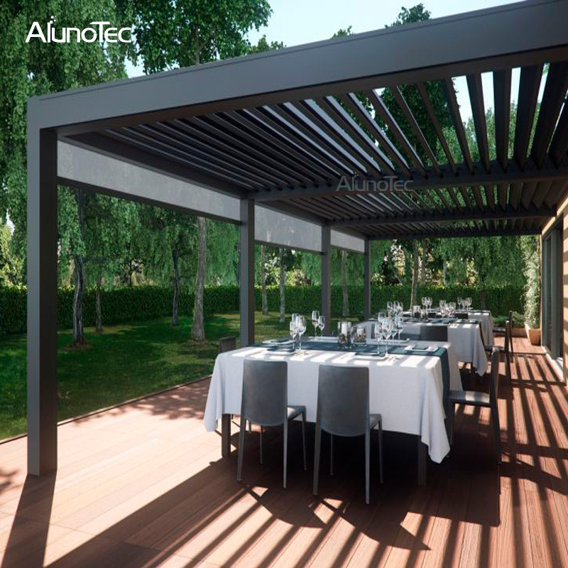 Electric Waterproof Gazebo Opening Roof Pergola System For Sunshade