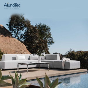 Nordic Style Waterproof Textilener Fabric Aluminum Alloy Frame Double&Single Sofa Set