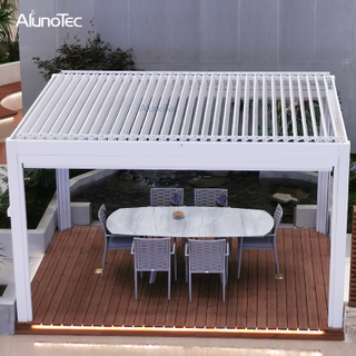 Manual Operation Garden Gazebo Kitd Sun Shade Opening Roof Aluminum Louvered Pergola