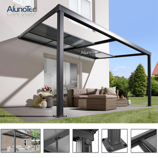 PVC Pergola Patio Cover System Terrace Sliding Polycarbonate Roof