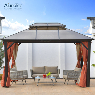 Outdoor Furniture Set Roman Hardtop Balcony Gazebo With Side Curtain