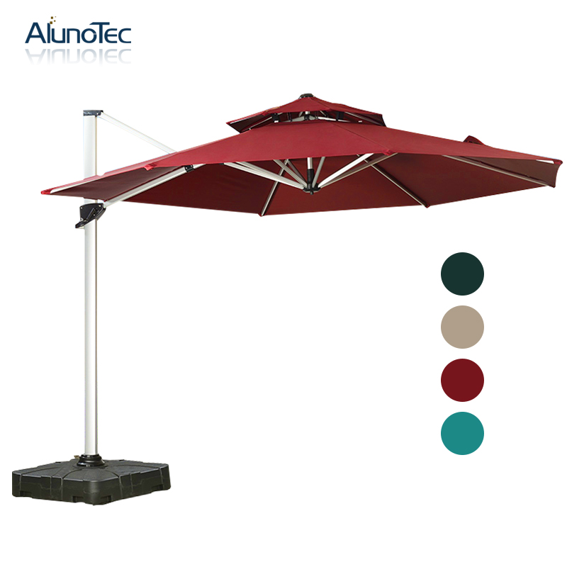 Sun Block Outdoor Canopy Square Roman Umbrella with 360 Degree Rotation