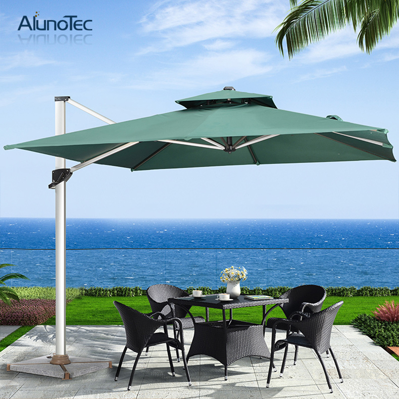 Outdoor Umbrella Cantilever Patio with Tilt And 360 Degree Rotating System-Cross Base