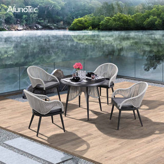 Modern Rope Chair and Table as Outdoor Garden Furniture Dining Sets