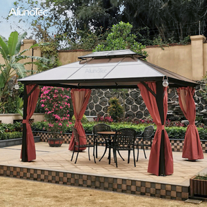 Aluminium Outdoor 4 X 3m Polycarbonate Gazebo With Side Curtain
