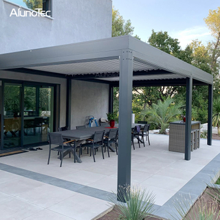 Customized Aluminum Pergola Design Ideas DIY Opening Roof with Curtain
