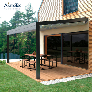 Outdoor Wind Resistance Waterproof Aluminium PVC Retractable Awning Roof with LED