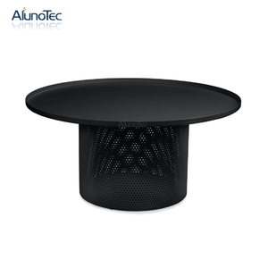 Outdoor Balcony Garden Aluminum Black Round Coffee Table