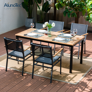 Europe Design Patio Furniture Aluminium Textliene 4 Seater Outdoor Garden Dining Set