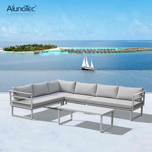 Outdoor Garden Furniture Modular Patio Sectional Sofa Set with Table