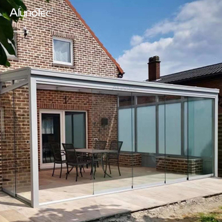 Garden Bioclimatic Louver Roof Pergola Shelter Patio Cover Veranda Canopy with Sliding Glass Door