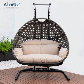 Outdoor Rattan Wicker Seat Hanging Egg Swing Chair with Metal Stand Mail Packaging